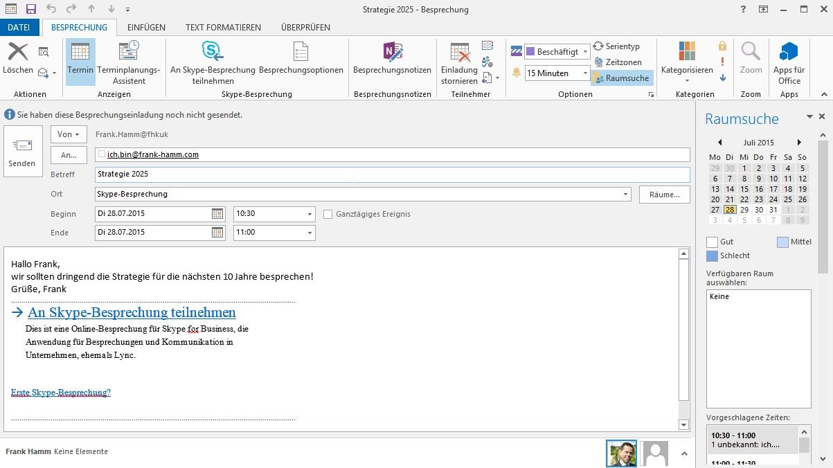 skype for business meeting mit outlook erstellen und starten, Einladung