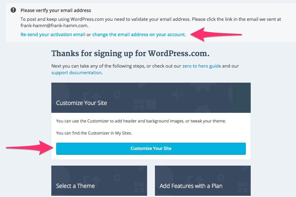 Wordpress.com: Customize Your Site