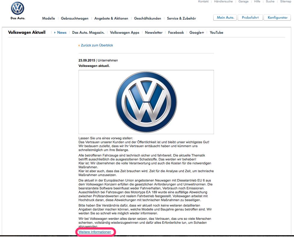 Volkswagen-Dieselgate: Nachricht