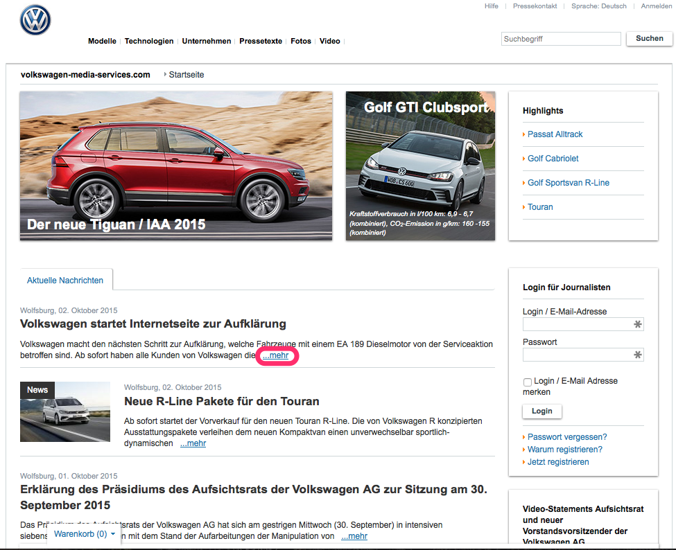 Volkswagen-Dieselgate: Media Services