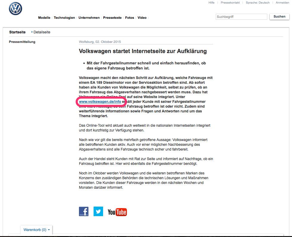 Volkswagen-Dieselgate: Pressemitteilung