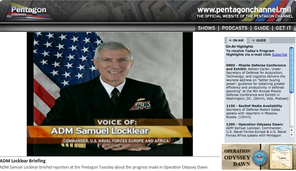 """Pentagon News Briefing zu """"Odyssee Dawn"""": Gestreamt, getwittert und auf Facebook"""