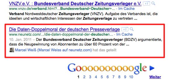 """Google-Suche """"bundesverband deutscher zeitungsverleger"""" mit Marcel Weiß (angemeldet)"""