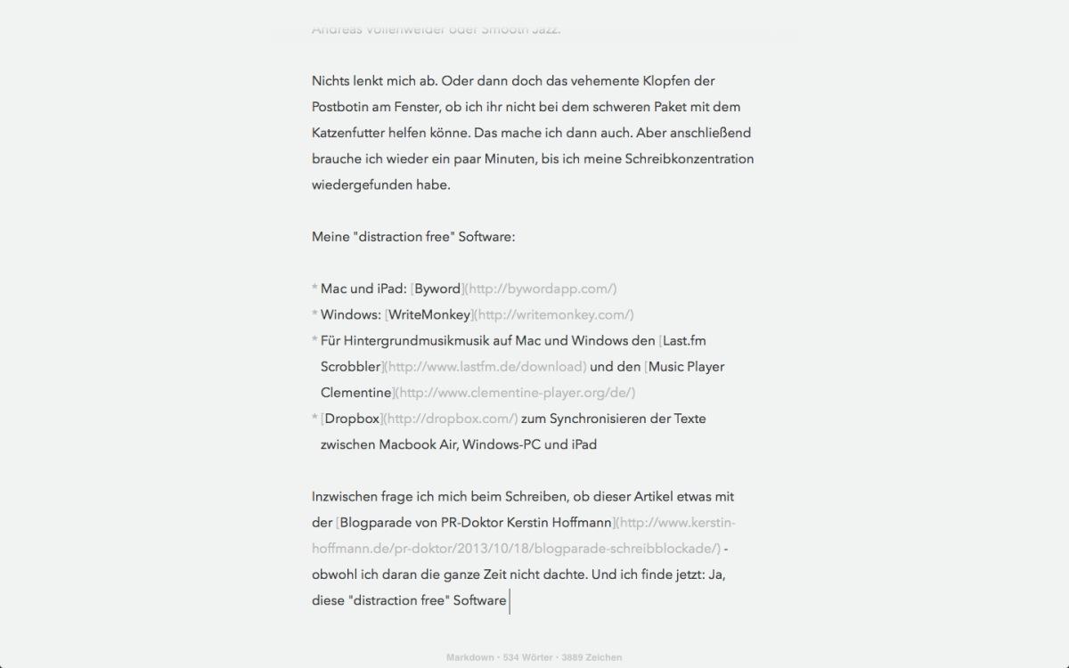Ablenkungsfreie Software zum Schreiben (distraction free writing)