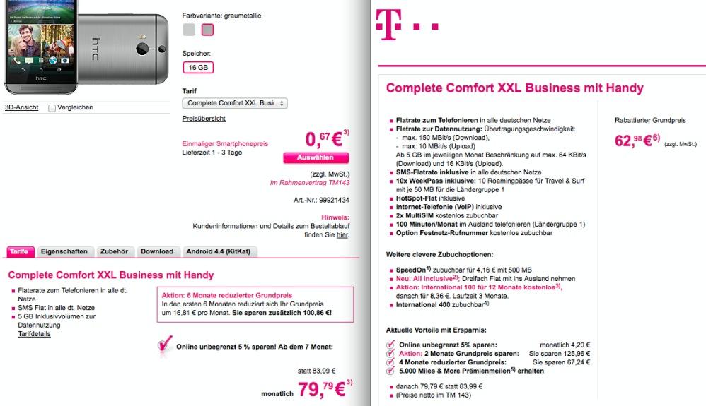 HTC One (m8) mit Vertrag bei Deutsche Telekom