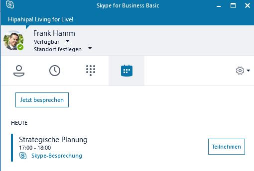 Skype for Business: Besprechung starten