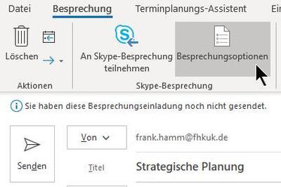 Skype for Business: Besprechnungsoptionen aufrufen