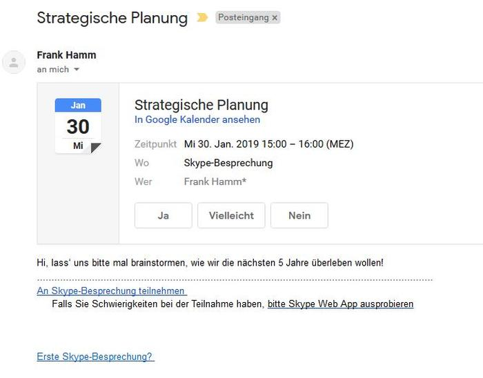 Skype for Business: Termineinladung in Gmail