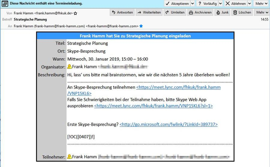 Skype for Business: Besprechungseinladung in Thunderbird