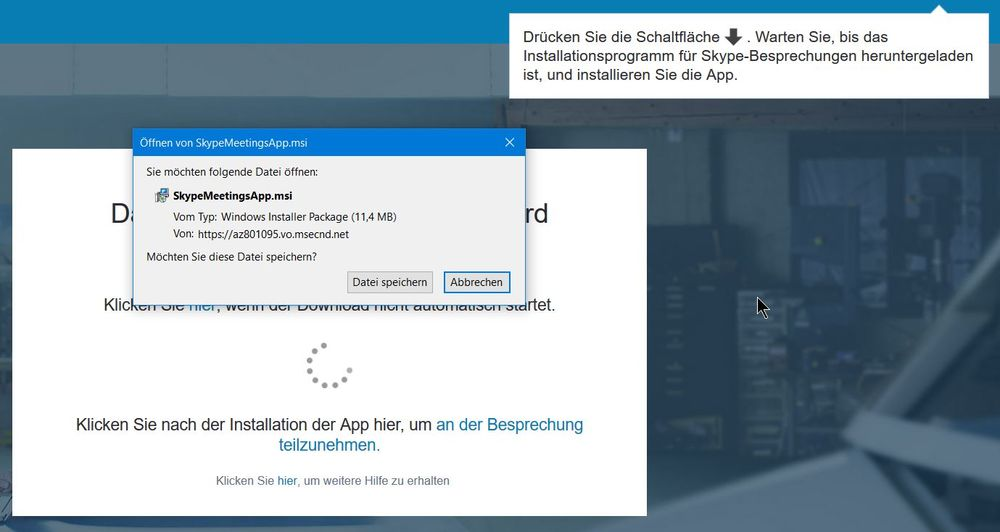 "Skype for Business: Installationsdatei für das Plug-In (Windows: ""SkypeMeetingsApp.msi"")"