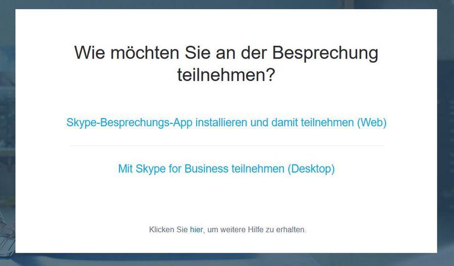 Skype for Business: Wie möchten Sie an der Besprechung teilnehmen?