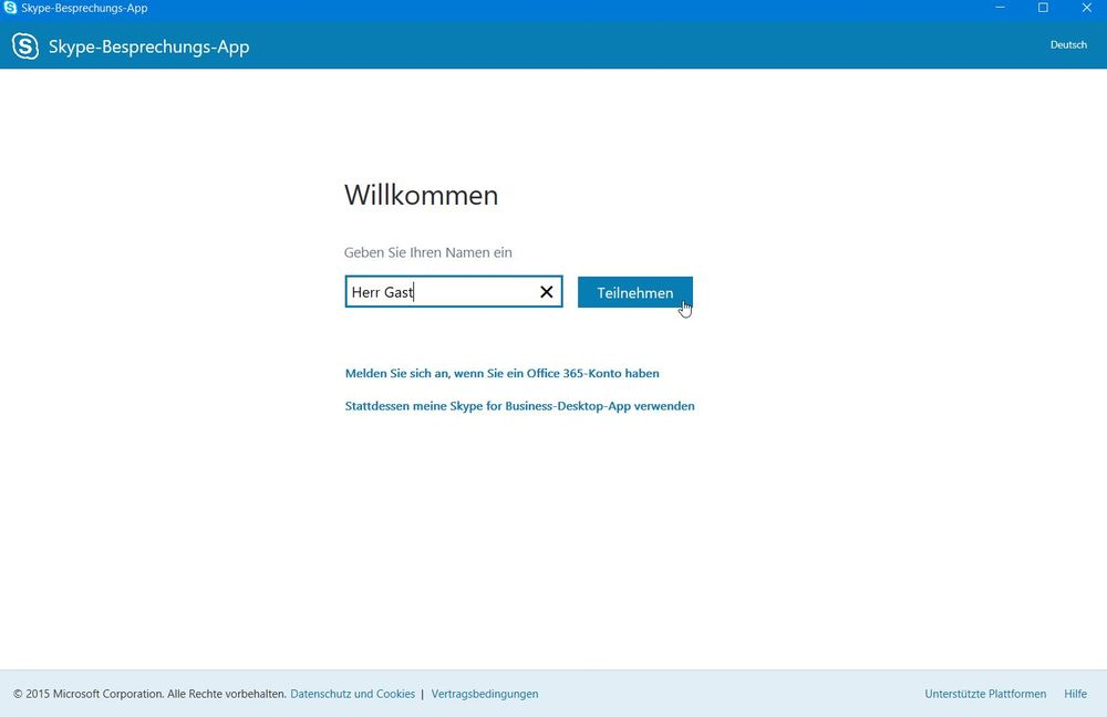 Skype for Business: Geben Sie Ihren Namen ein