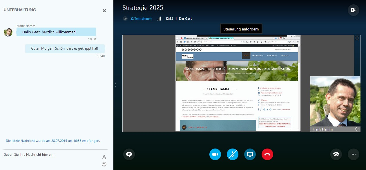 Skype for Business Web App: Programm des Organisators