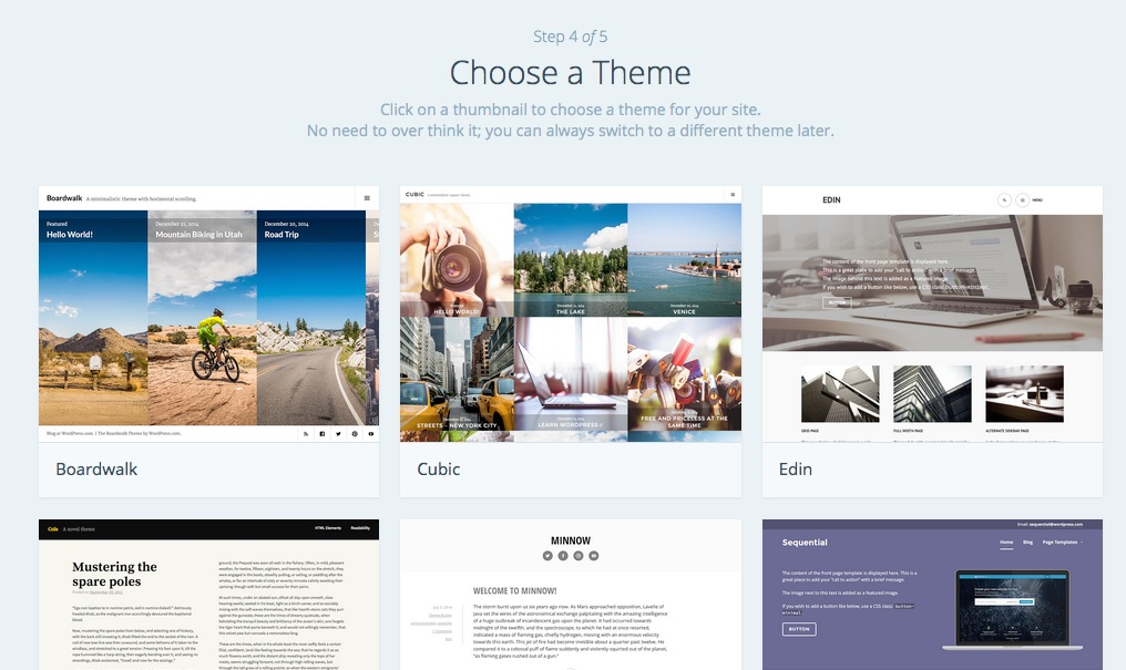 Wordpress.com: Theme wählen