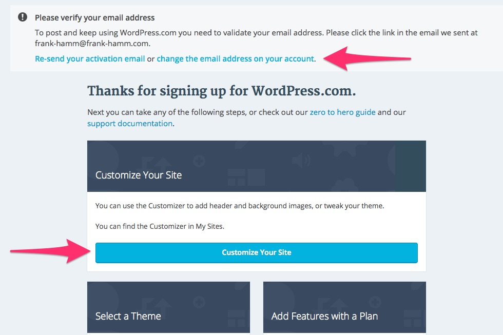 Wordpress.com: Customize Your Site