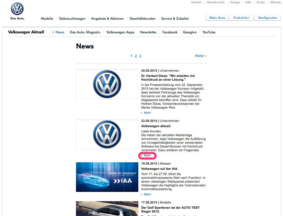 Volkswagen-Dieselgate: News