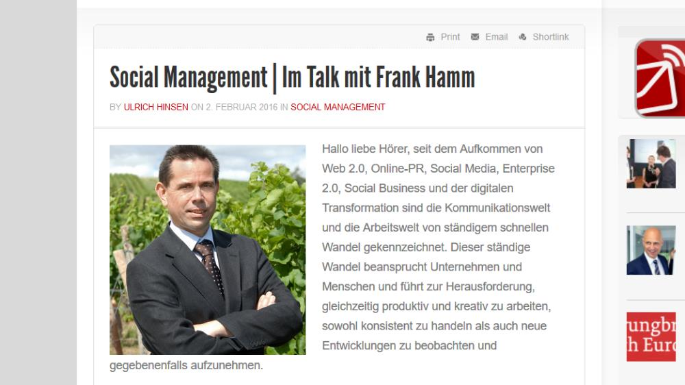 Talk mit Frank Hamm – Interview im ManagementRadio