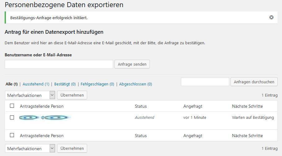 Wordpress: Personenbezogene Daten exportieren