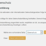 Wordpress: Seite für Datenschutzerklärung festlegen