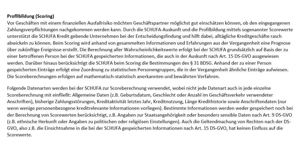 Antwort der Schufa zu meinem Antrag nach Auskunft gemäß Artikel 15 DS-GVO