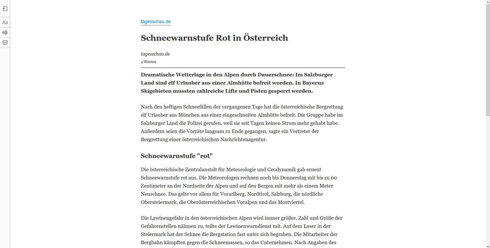 Firefox Leseansicht aktiviert: Schneewarnstufe Rot in Österreich - Tagesschau.de (1)