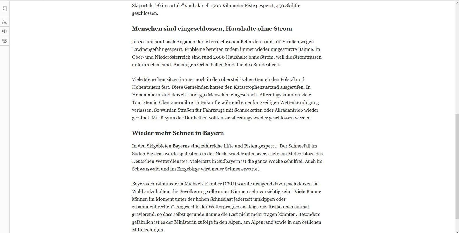 Firefox Leseansicht aktiviert: Schneewarnstufe Rot in Österreich - Tagesschau.de (2)