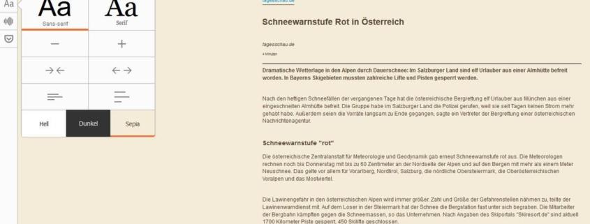 Firefox Leseansicht: Leseeinstellungen geändert