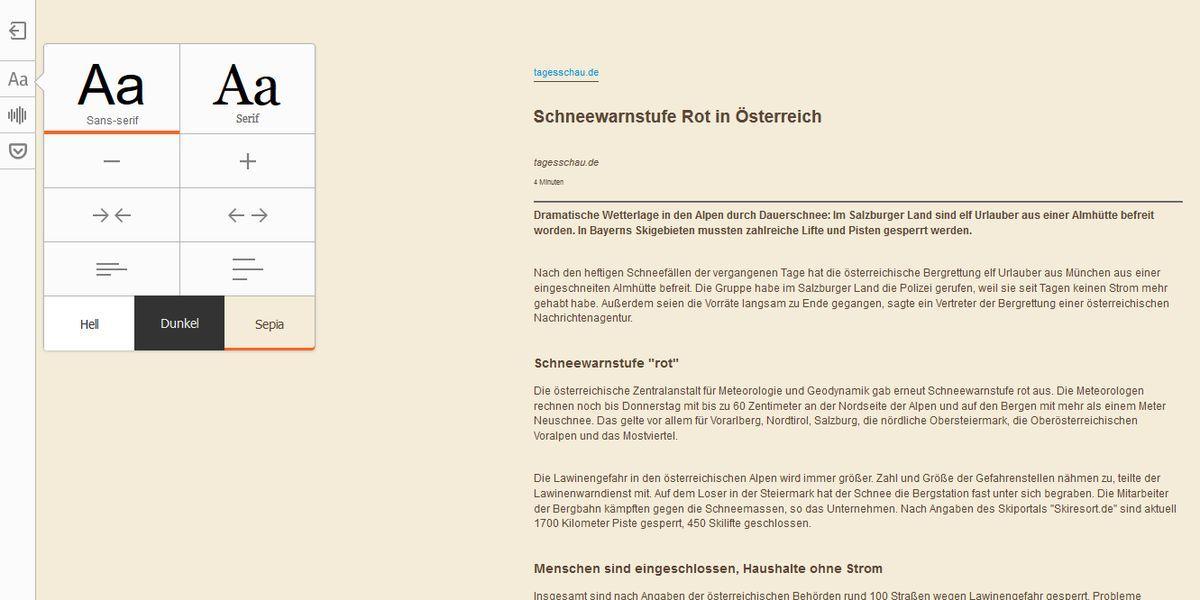 Ablenkungsfreies Lesen mit der Firefox Leseansicht (F9)