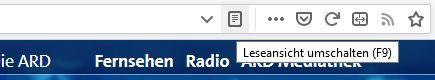 Firefox Leseansicht aktivierten: F9