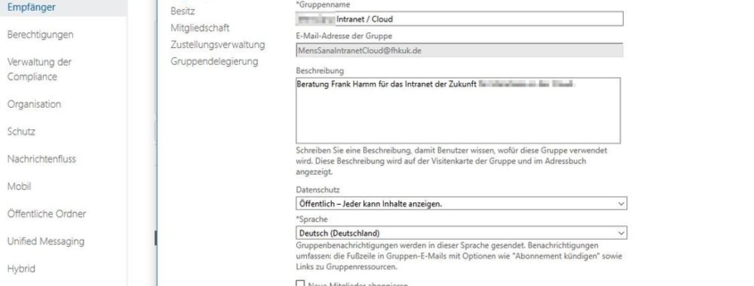 Office 365 Gruppe im Exchange Admin Center bearbeiten