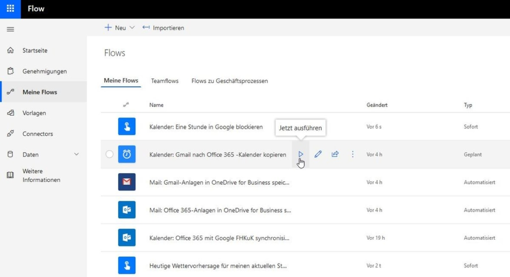 Microsoft Flow: Meine Workflows