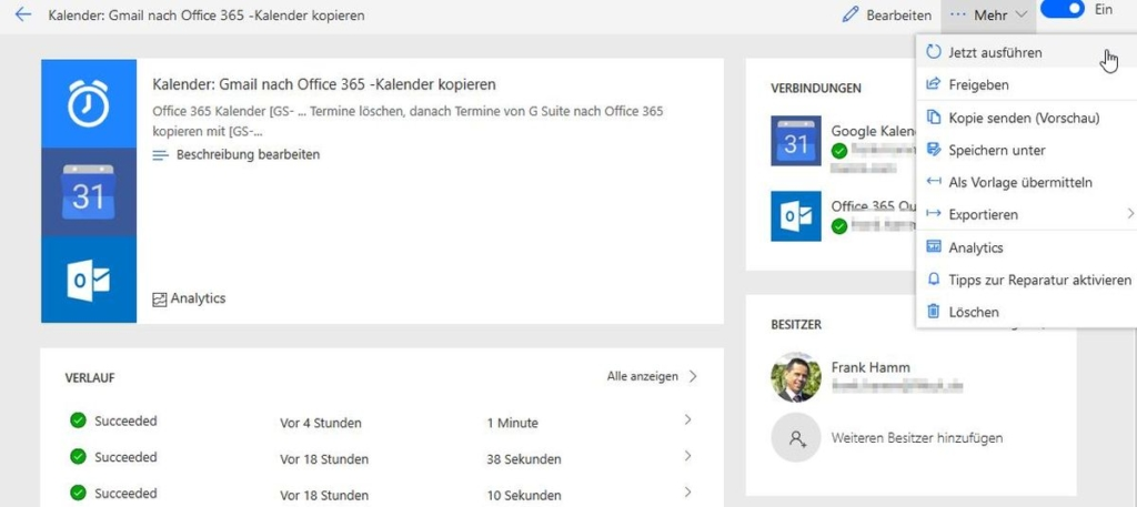 Microsoft Flow: Gmail-Kalender nach Office 365 kopieren