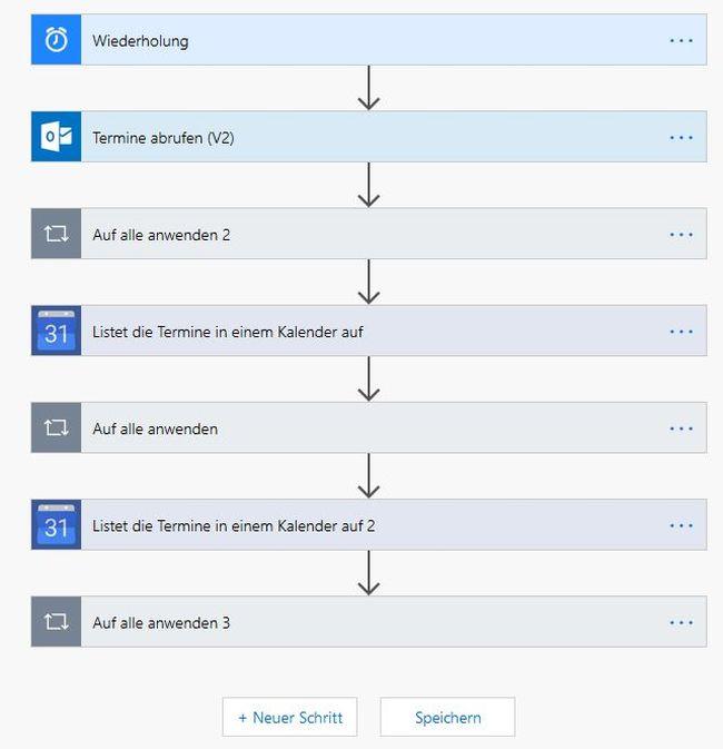 Microsoft Flow: Gmail-Kalender nach Office 365 kopieren (Ablauf)