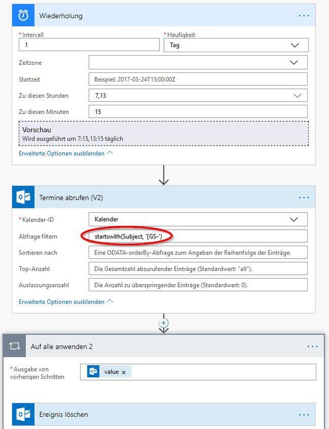 Microsoft Flow: Gmail-Kalender nach Office 365 kopieren - erweitert, mit Filter