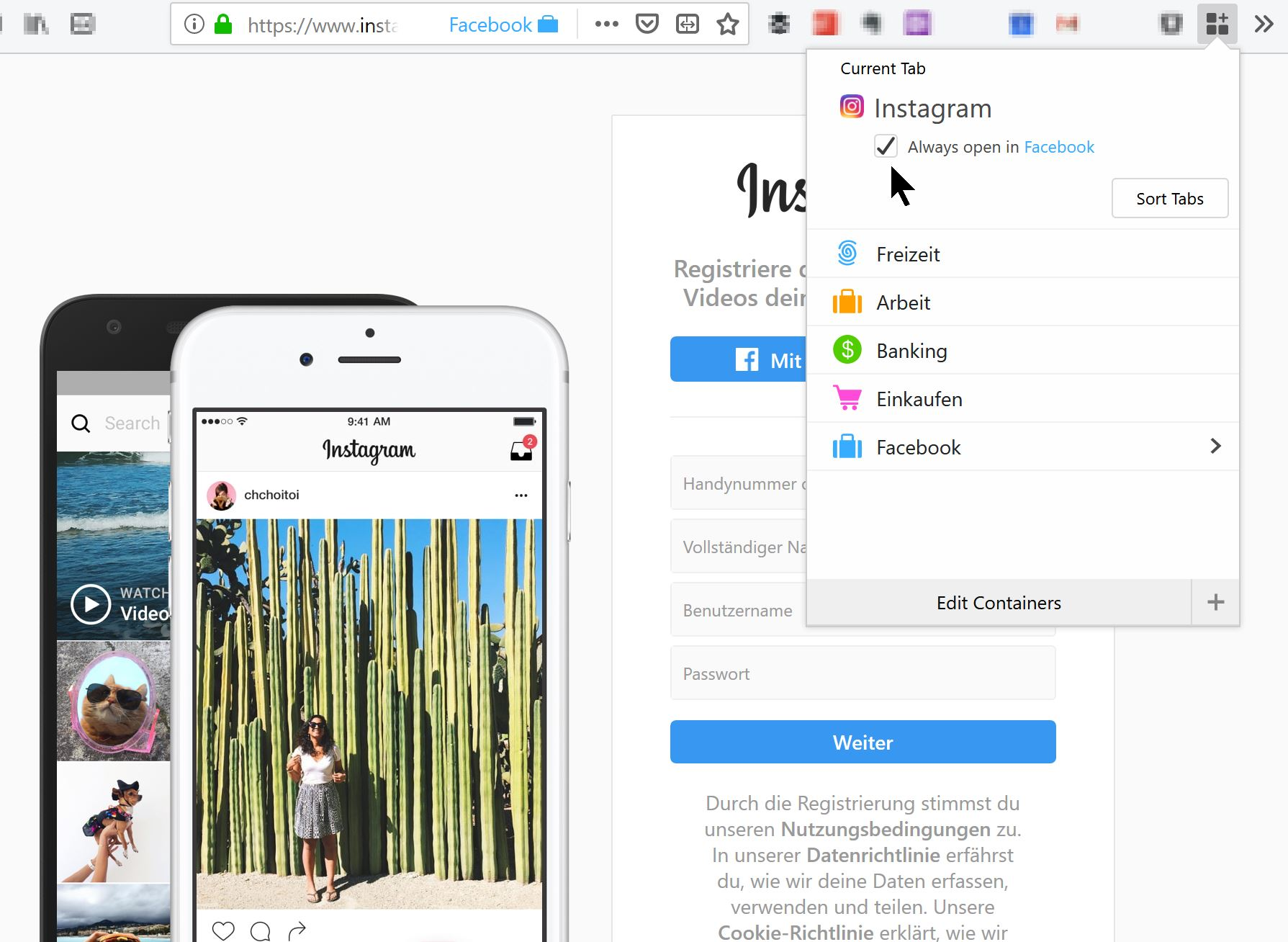 Multi-Account Containers: Instagramm immer in Facebook-Umgebung öffnen